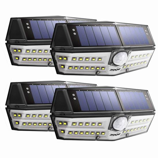 Mpow 30 LED 超亮 太阳能防水运动感应灯4件套5.9折 35.53加元包邮!