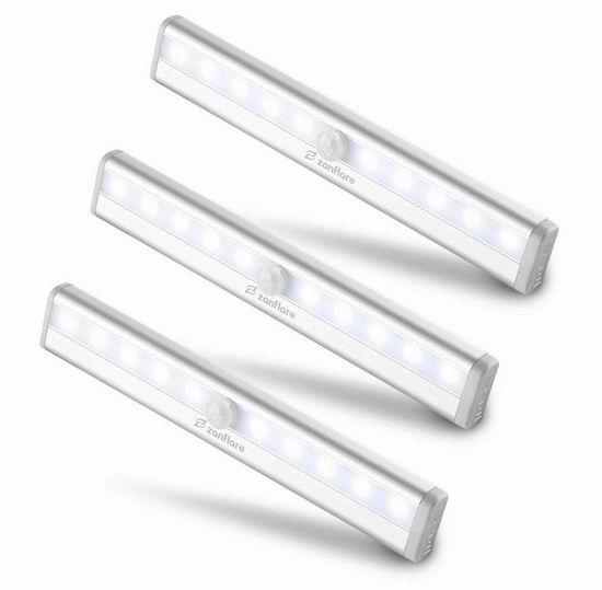 手慢无!Zanflare 10 LED 室内运动感应灯/壁橱灯3件套 17.39加元限量特卖!2件套11.99加元!