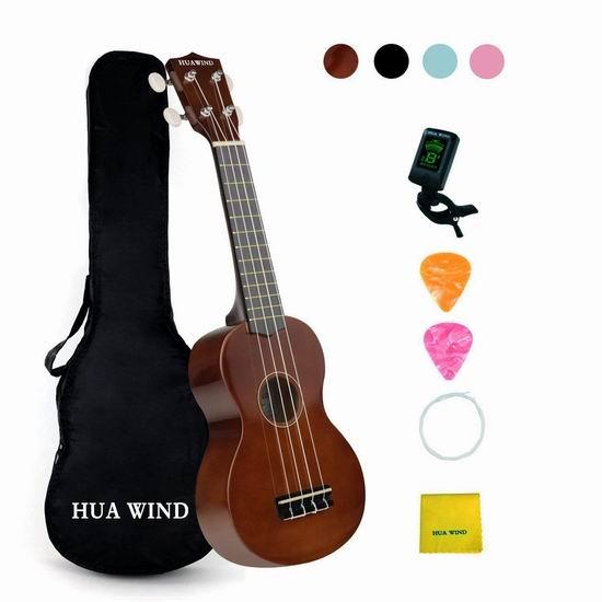 HUAWIND Concert Ukulele 23寸夏威夷小吉他/尤克里里套装2.5折 32.79加元限量特卖并包邮!