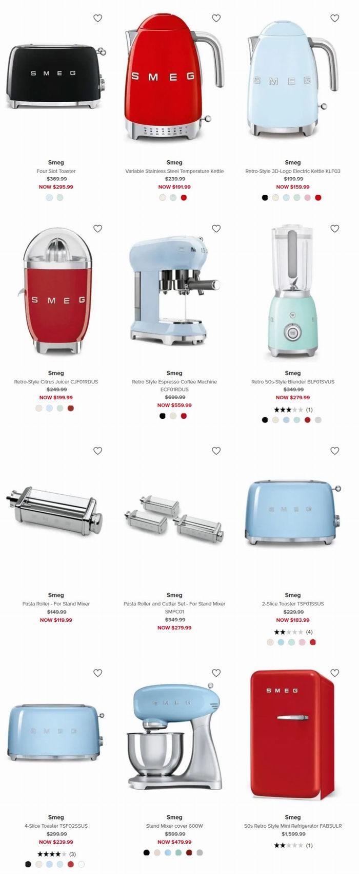 意大利高颜值SMEG厨房用品 8折起+满150加元立减20加元!134.99加元入精美电水壶!