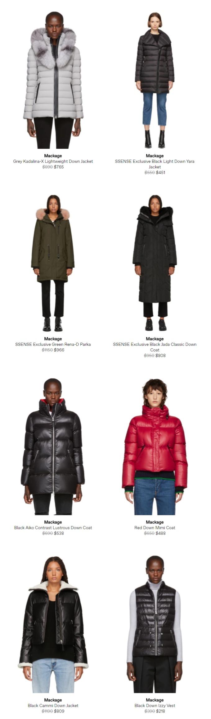 SSENSE精选Mackage 全场男女时尚羽绒服、美包 5.6折起优惠,羽绒服低至 432加元!