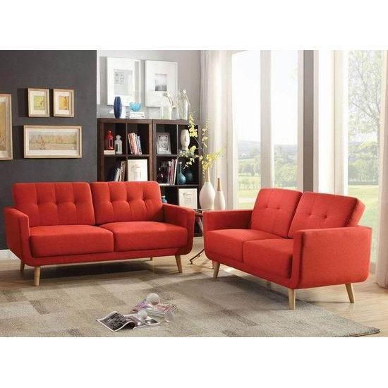 白菜速抢!Q-Max SH1252 时尚红色亚麻布艺沙发2件套2.2折 358.82加元包邮!