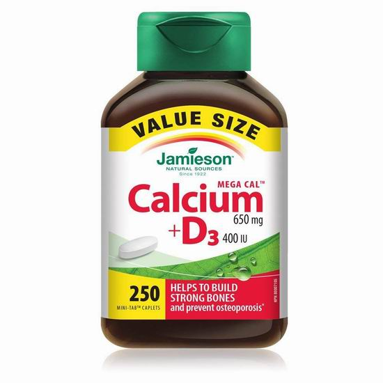 历史新低!Jamieson 健美生 Mega Calcium 高浓度钙+维生素D3片(250粒)4.3折 9.49加元!