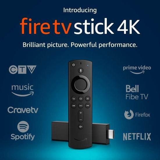 黑五价!历史新低!新品 Fire TV Stick 4K超高清电视棒 34.99加元!带Alex语音遥控!