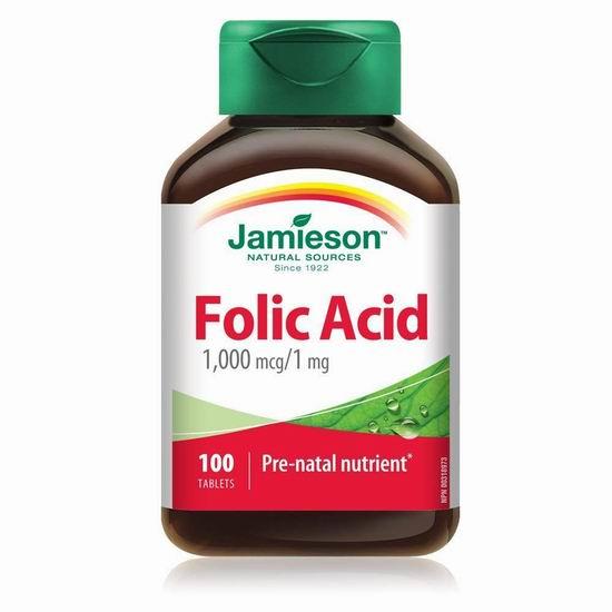 历史新低!Jamieson 健美生 Folic Acid 叶酸片(1mg x 100片)4折 3.51加元!