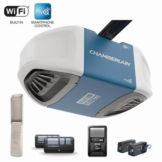 Chamberlain B750C ¾HP 手机遥控 带式超静音传动 车库开门器7.1折 249加元包邮!