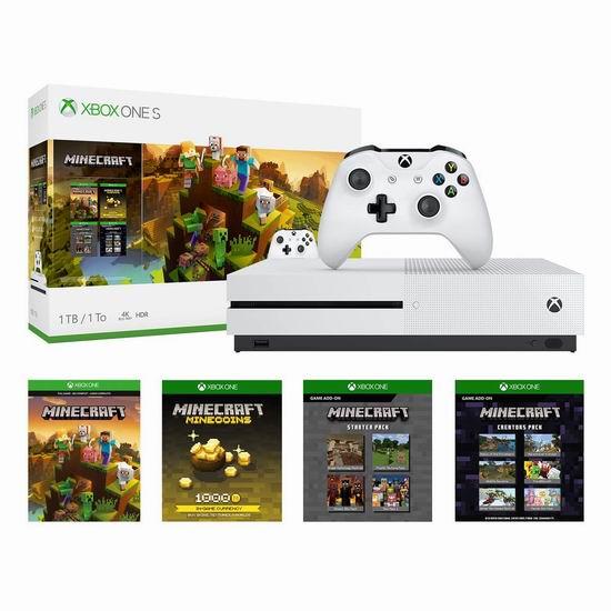 速抢!黑五专享!历史新低!Xbox One S 1TB 家庭娱乐游戏机+《Minecraft Creators游戏》套装6折 229.95加元包邮!