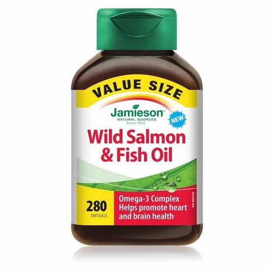 历史新低!Jamieson 健美生 野生三文鱼油 Omega-3胶囊(280粒)超值装 9.49加元!