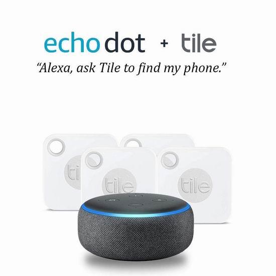 最新款 Echo Dot 亚马逊第三代智能家居语音机器人 + Tile Mate 蓝牙防丢 定位追踪器4件套5.5折 76.66加元包邮!