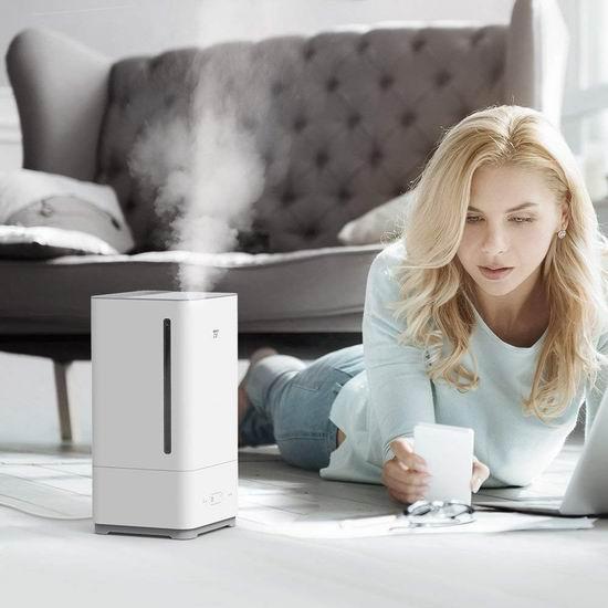 TaoTronics TT-AH014 5升大容量 零噪音超声波冷雾加湿器 59.49加元包邮!