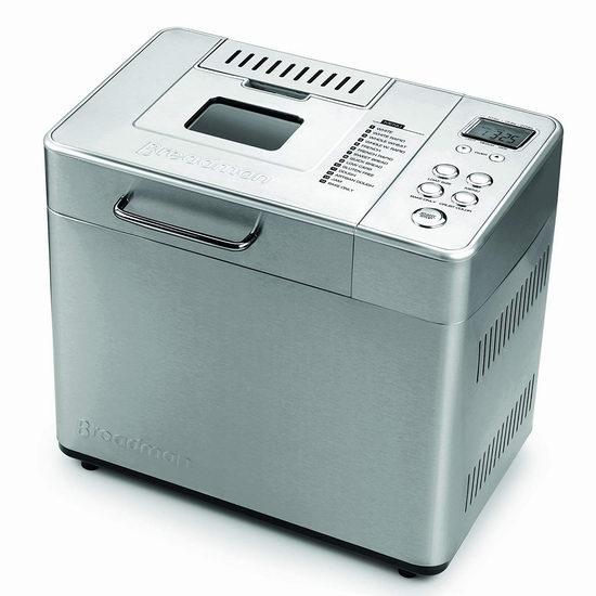 黑五专享:历史新低!Breadman BK1060BC 2磅 14合一 不锈钢专业 全自动面包机5.2折 77.98加元包邮!