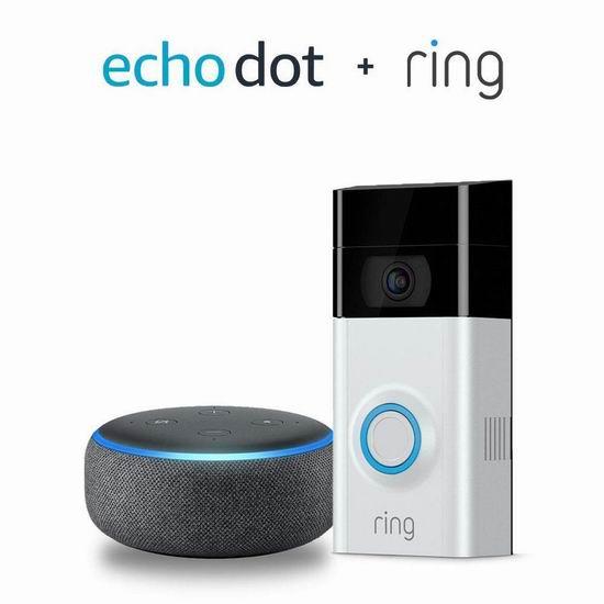 历史最低价!Ring 1080P 第二代可视智能门铃 179加元包邮!送价值69.99加元第三代Echo Dot语音机器人!会员专享!