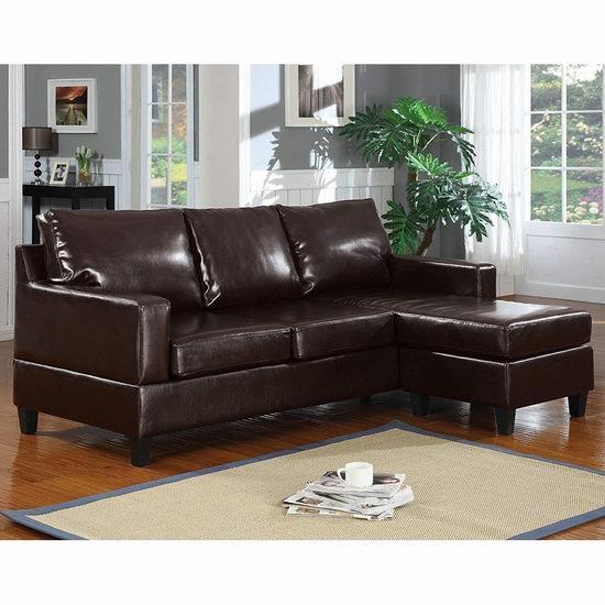 白菜速抢!历史新低!Q-Max SH1236 深咖啡色皮革组合沙发2.3折 377.28加元包邮!