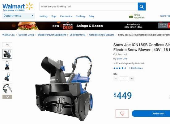 黑五价再降49加元!Snow Joe iON18SB 超轻便充电式40伏无绳铲雪机5.4折 279加元包邮!Walmart同款449加元!
