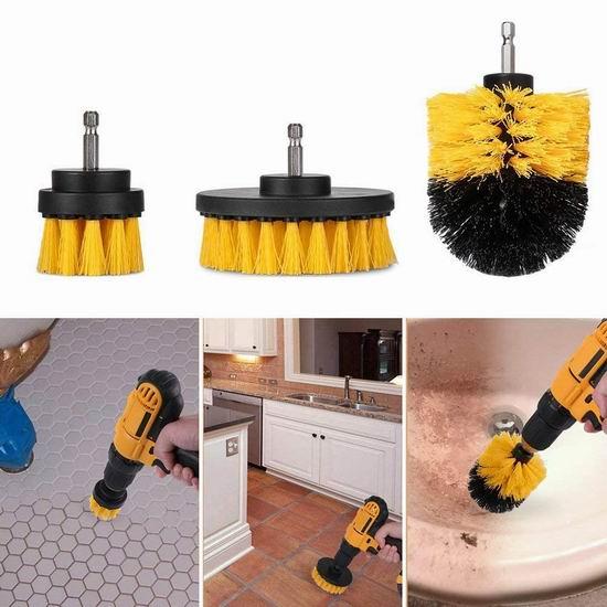 FSDUALWIN 电钻专用 清洁刷头3件套 15.88加元限量特卖!