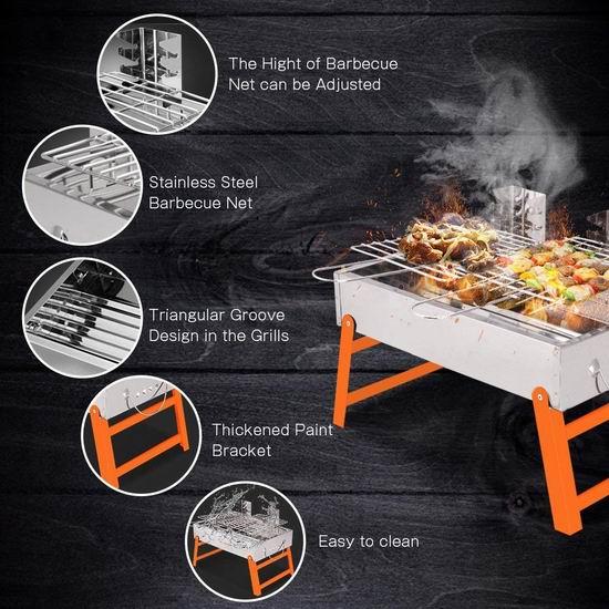 烤串神器!历史新低!RioRand 便携式不锈钢碳烧 BBQ烧烤炉 27.99加元包邮!