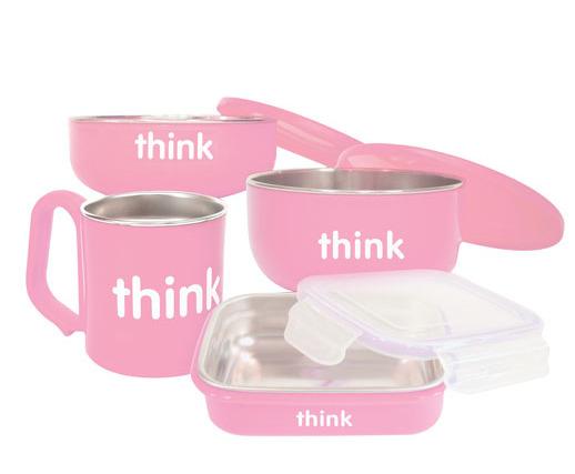 Thinkbaby 不锈钢儿童餐具套装 40.49加元(4色),原价 53.99加元,包邮