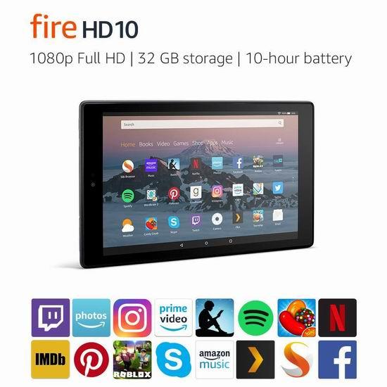 历史新低!Fire HD 10 10英寸平板电脑(32GB/64GB) 149.99-189.99加元包邮!2色可选!会员专享!