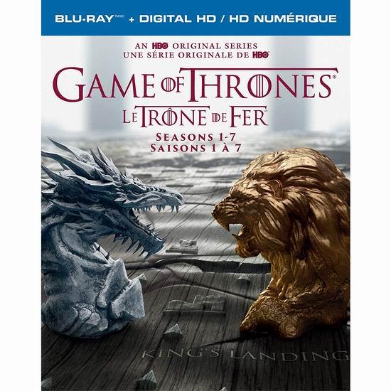历史最低价!《Game of Thrones 权力的游戏》1-7季蓝光影碟版3.8折 99.99加元包邮!DVD版84.99加元!