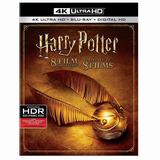 历史新低!《Harry Potter 哈利波特》4K超高清蓝光影碟全集3.1折 109.99加元包邮!