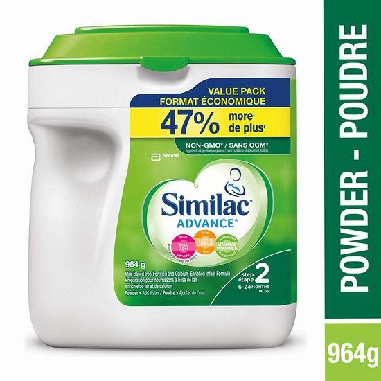 精选2款 Similac Similac advance step 1/2 婴儿配方奶粉(964 g) 37.02加元包邮!