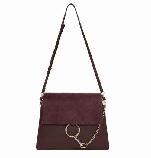 Chloé Burgundy Faye 中号手袋 1470加元,原价 2535加元,包邮