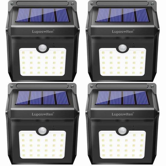 Luposwiten 28 LEDs 超亮太阳能防水运动感应灯2件套 31.05加元限量特卖并包邮!