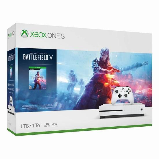 历史新低!Xbox One S 1TB 家庭娱乐游戏机+《Battlefield V 战地5游戏》套装 279.99加元包邮!另有《NBA 2K19》套装279.99加元!