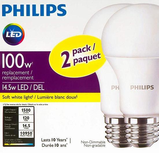 金盒头条:历史新低!精选3款 Philips 飞利浦 100瓦等效 LED节能灯泡5.8折 8.7加元起!