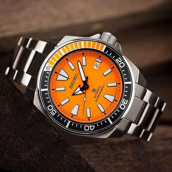 历史新低!Seiko 日本精工 SRPC07 Prospex 武士 橙盘潜水男士腕表/手表 277.89加元包邮!