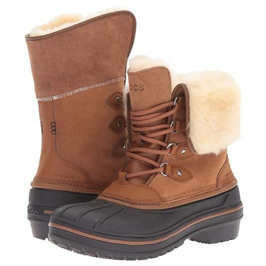 手慢无!Crocs 卡洛驰 AllCast II Luxe 女式羊毛雪地靴3.2折 68.53加元包邮!