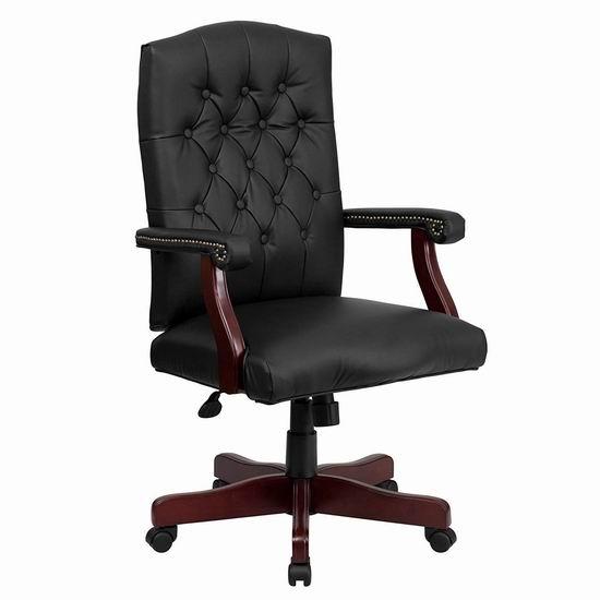 白菜速抢!历史新低!Flash Furniture 801L-LF0005-BK-LEA-GG 豪华真皮旋转办公椅2.1折 101.41加元包邮!