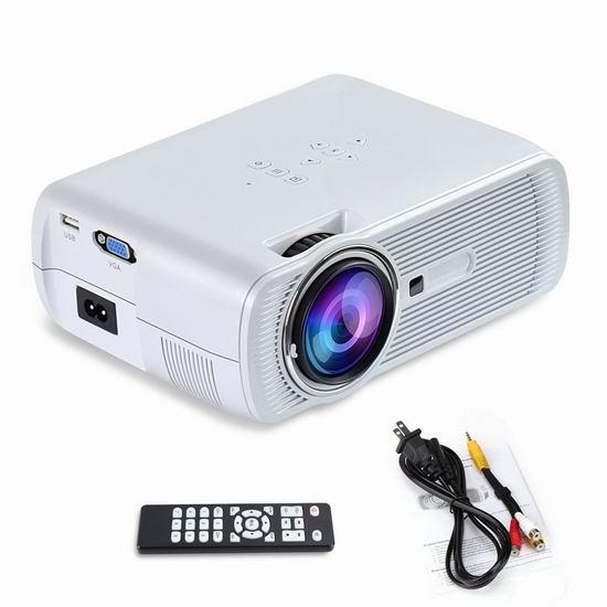 Yuntab BL80 便携式 1200流明 LED家庭影院投影仪 87.99加元限量特卖并包邮!