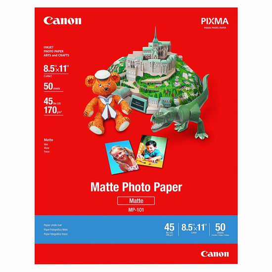 金盒头条:精选多款 Canon 佳能 多尺寸照片打印纸5折起!低至4.79加元!