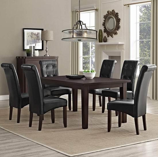 历史新低!Simpli Home Cosmopolitan 实木餐桌椅7件套5.9折 1813.81加元起!4色可选!