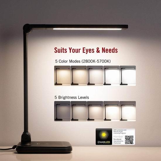 TaoTronics 可调亮度LED护眼台灯 49.99加元限量特卖并包邮!