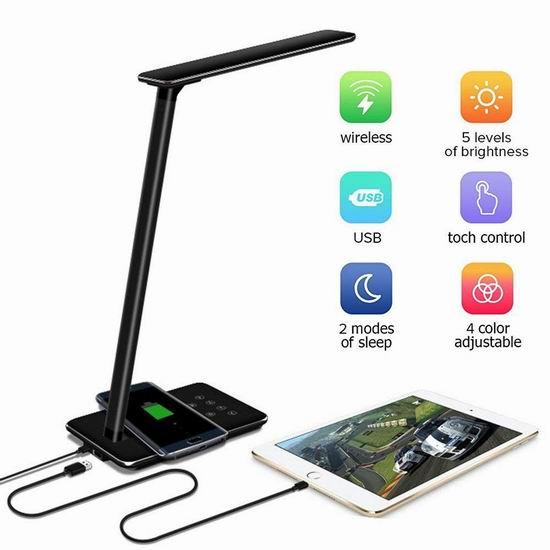 Suliko 5W LED 触控式 护目台灯5.7折 39.99加元限量特卖并包邮!支持手机无线充电!