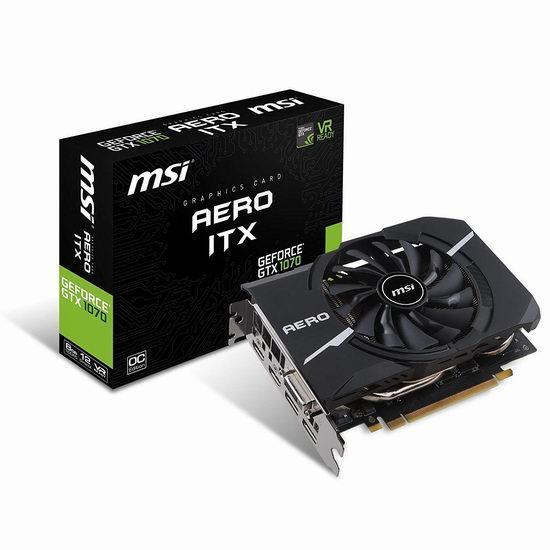 历史新低!MSI 微星 Gaming GeForce GTX 1070 AERO ITX  8GB GDDR5 游戏显卡 449.97加元包邮!