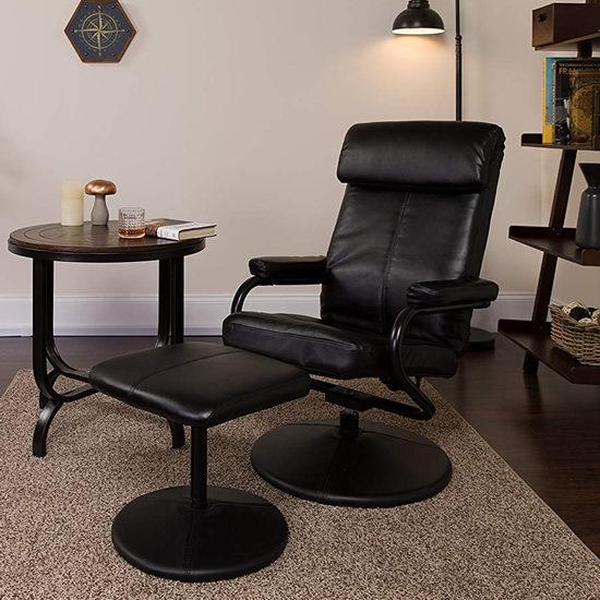 Flash Furniture 黑色皮制舒适躺椅+脚踏5.6折 162.63加元包邮!