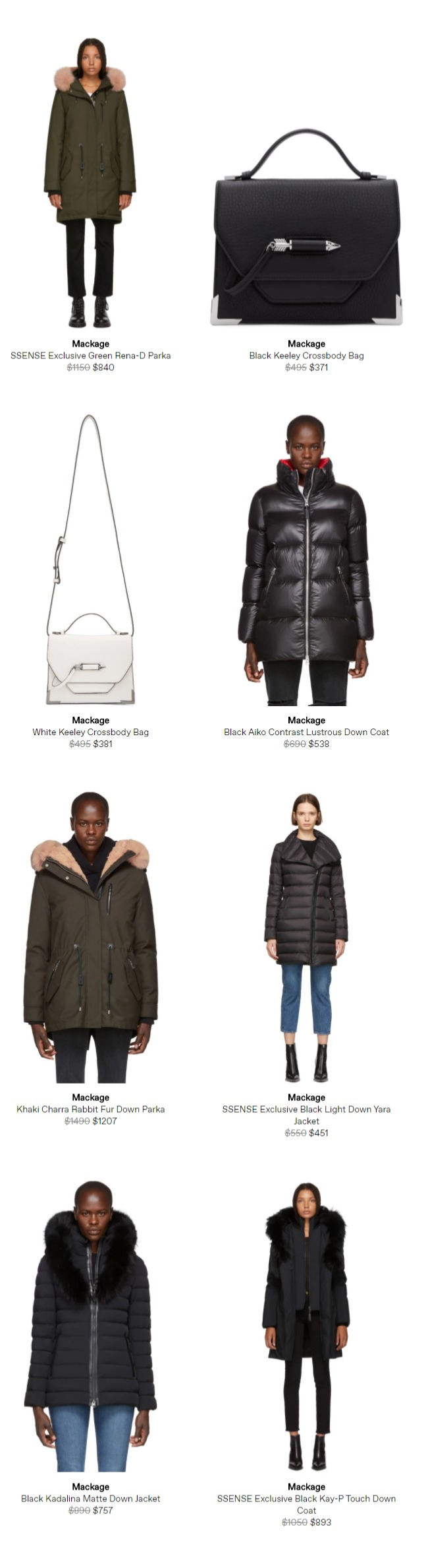 SSENSE精选Mackage 全场男女时尚羽绒服、美包 5.6折起优惠,羽绒服低至 450加元!