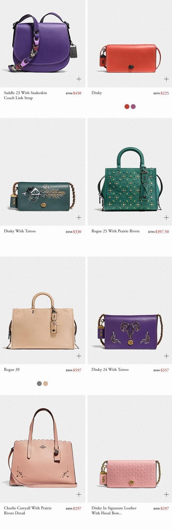 大量新款加入!COACH精选时尚美包、美鞋、美衣3折起优惠,Swagger、山茶花、rogue手袋都打折!