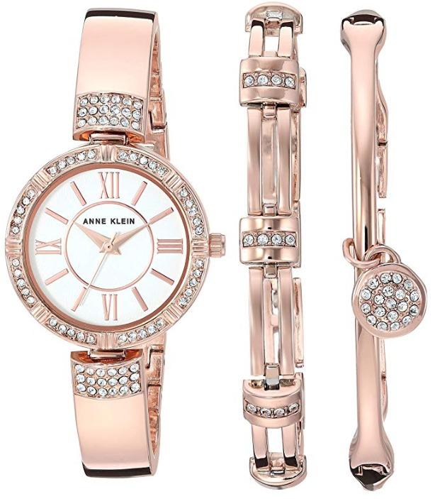白菜价!Anne Klein AK/3294RGST 玫瑰金 施华洛世奇水晶 女士腕表/手表+手镯套装 66.37加元包邮!