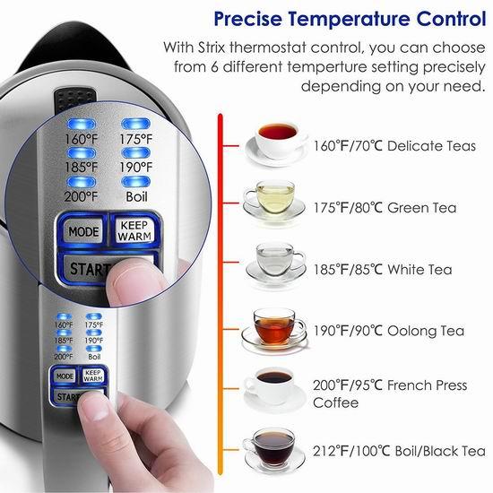 历史新低!BESTEK 1.7升 6档精准温控 不锈钢保温电热水壶 29.99加元包邮!