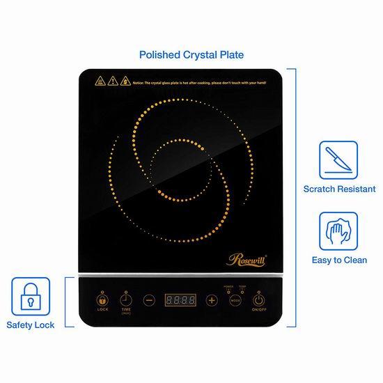 Rosewill RHAI-16001 1800瓦 微电脑 智能电磁炉+不锈钢锅套装5.2折 69.99加元包邮!