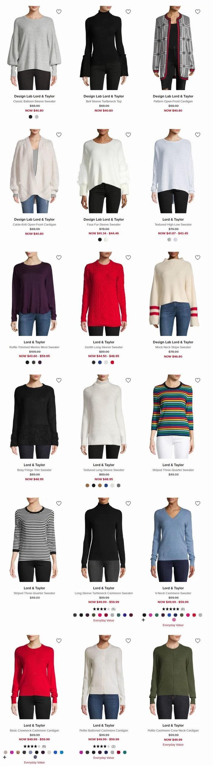 精选 Lord & Taylor 羊毛羊绒毛衣5.1折起+HBC卡额外8.5折!Cashmere毛衣低至42.49加元