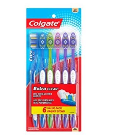 历史新低!Colgate 高露洁 Extra Clean 软毛牙刷6支超值装4.7折 4加元!
