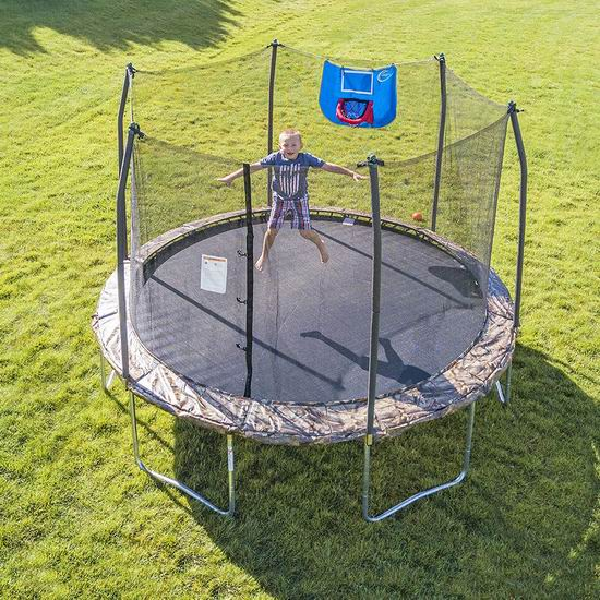 近史低价!Skywalker Trampolines Jump N' Dunk 12英尺带保护罩+篮球框 封闭蹦床 236.99加元包邮!