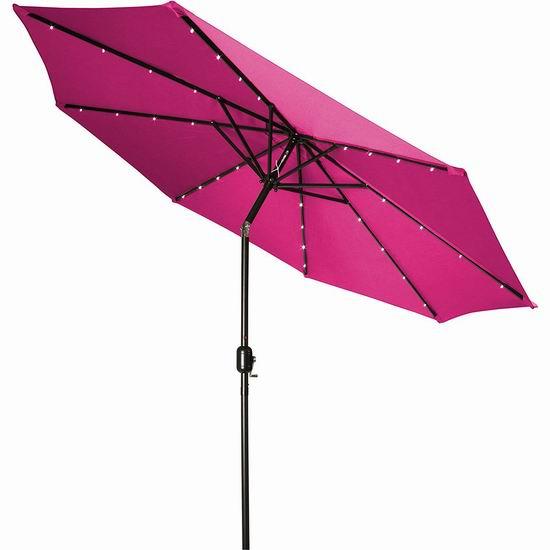 历史新低!Trademark Innovations 9英尺 粉红色 可倾斜太阳能LED照明 庭院遮阳伞3.2折 44.6加元包邮!