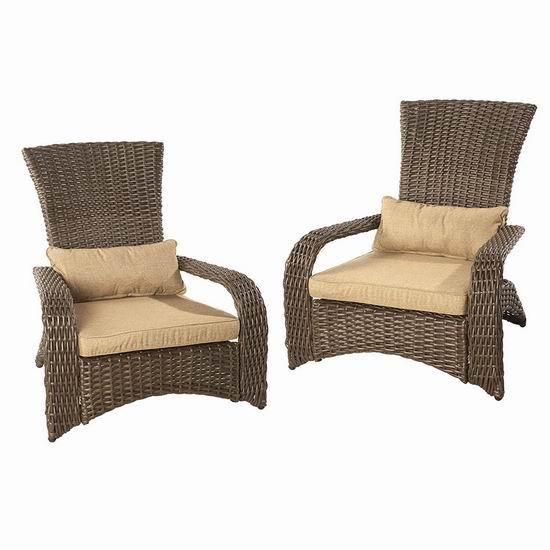 逆季清仓!历史新低!Patioflare Premium 高级藤条椅2件套3折 171.47加元包邮!送坐垫+腰枕!会员专享!