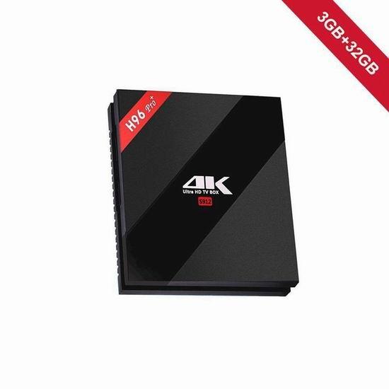 WeChip H96 Pro plus  4K超高清 双频WiFi 流媒体播放器/网络电视机顶盒(3GB/32GB) 85.59加元限量特卖并包邮!